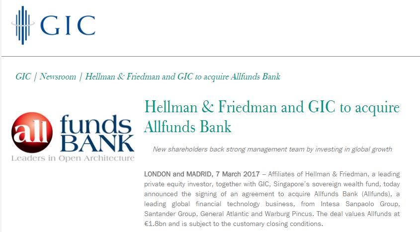 Intesa Sanpaolo And Santander Sell Allfunds Bank To Hellmanfriedman