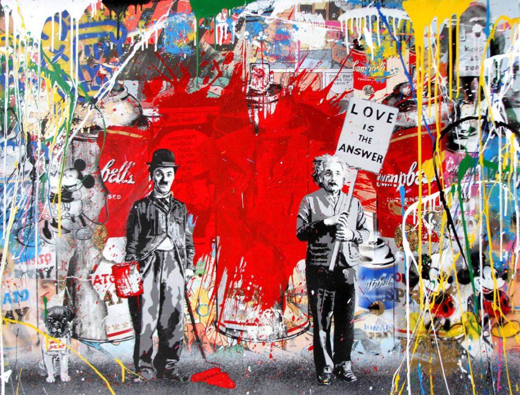 Mr. Brainwash_Juxtapose_2017_tecnica mista su carta_cm 96,5x127