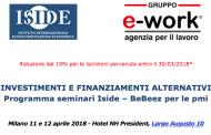Tutto sui finanziamenti e investimenti alternativi per le pmi. Workshop 11-12 aprile rimandato a maggio