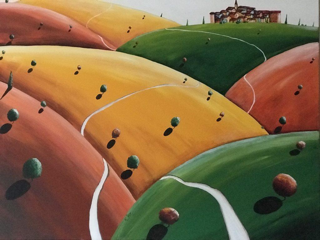 Nicola Pica, Serie Cromocostruzione, Incastri di colore,  acrilico su tela, 80x100cm, anno 2018