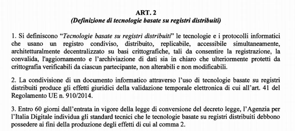L'articolo della bozza di DL dedicato alle blockchain e stralciato dal testo definitivo