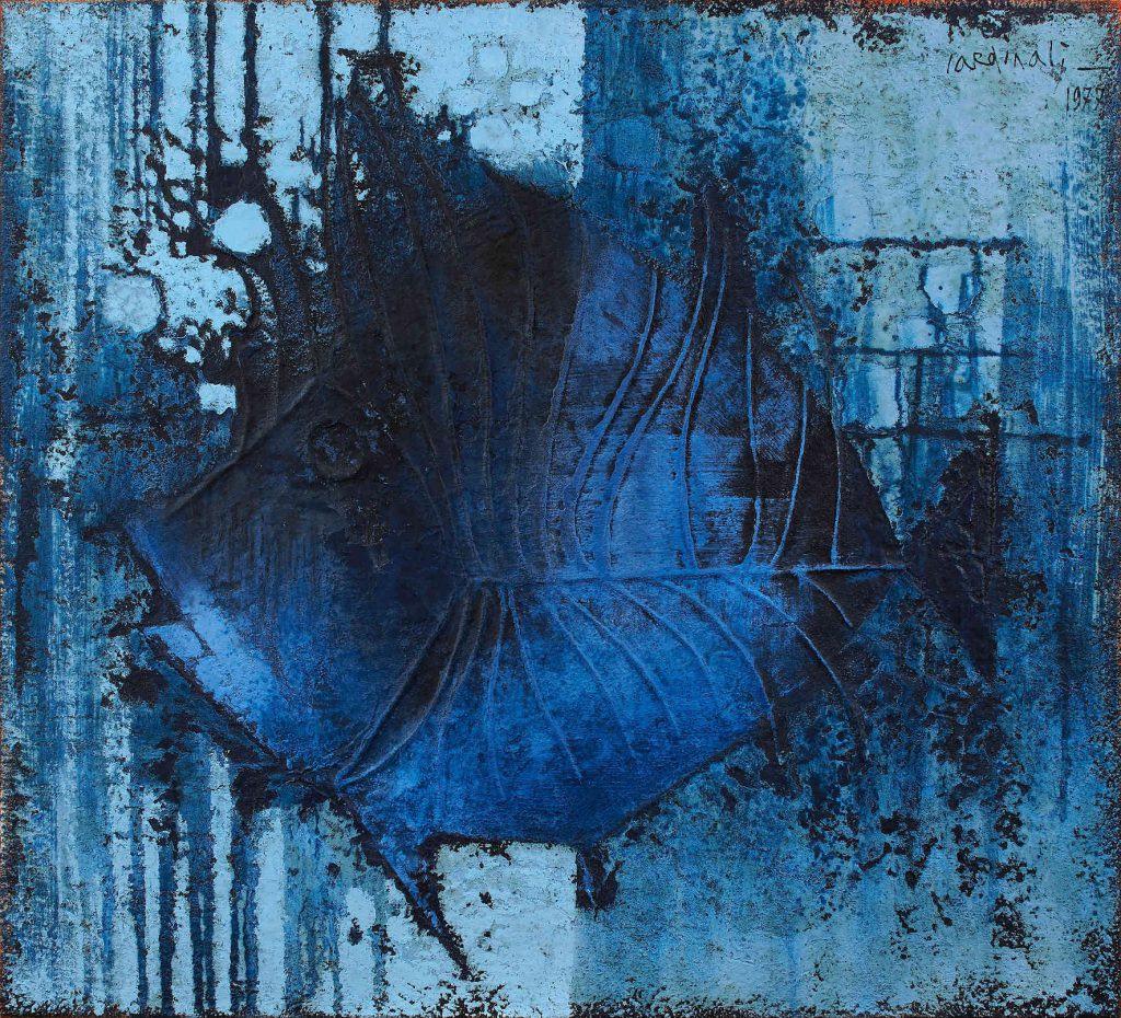 Franco Cardinali_Pesce azzurro_1977_olio caseina e sabbia su tela_cm 97x105_ph. Luca Maccotta