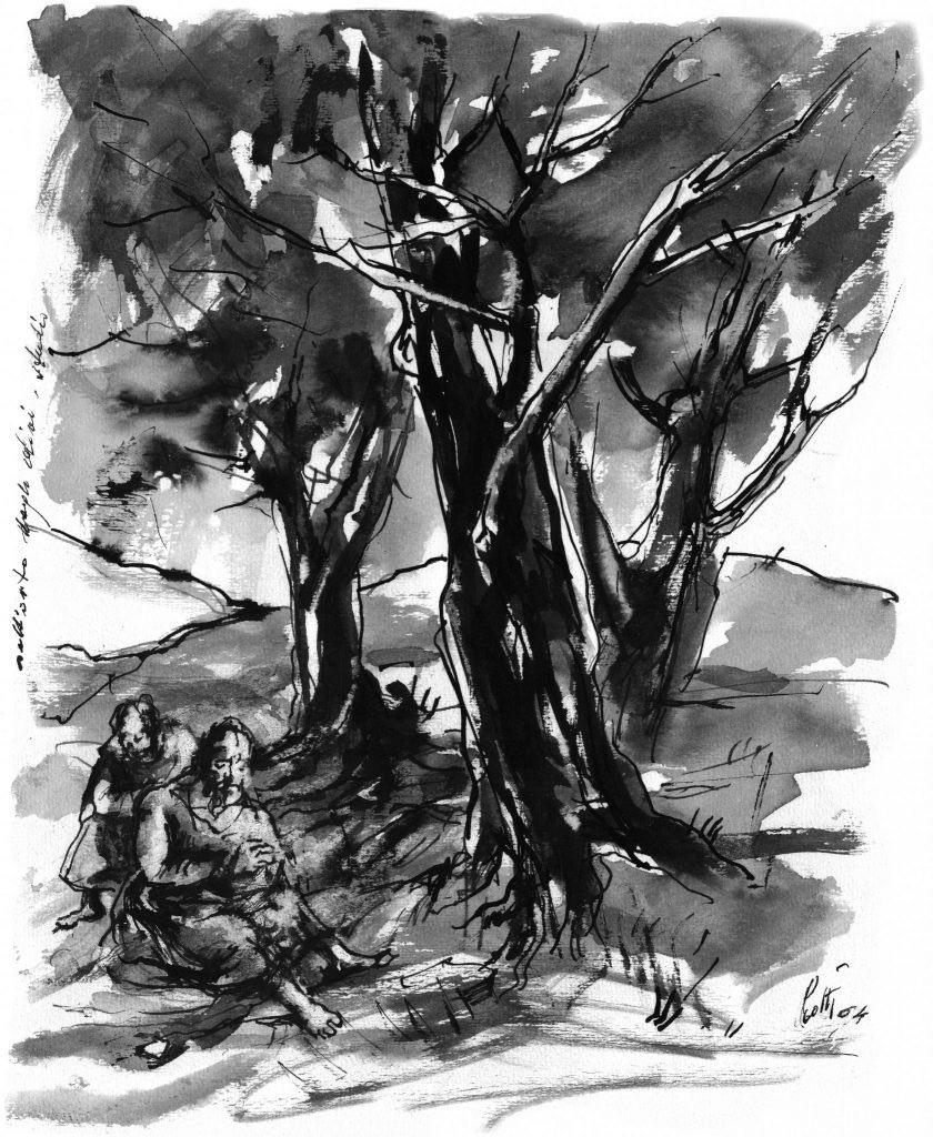 Betto Lotti - Gesu nell'orto del Getsemani -china acquarellata - 1964