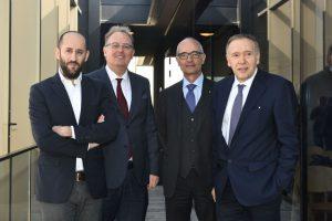 Da sinistra, Antonio Lafiosca (Borsa del Credito), Josef Prader (Prader Bank), Mario Comana (Luiss) e Mario Mezzalira (Confidi Systema!)
