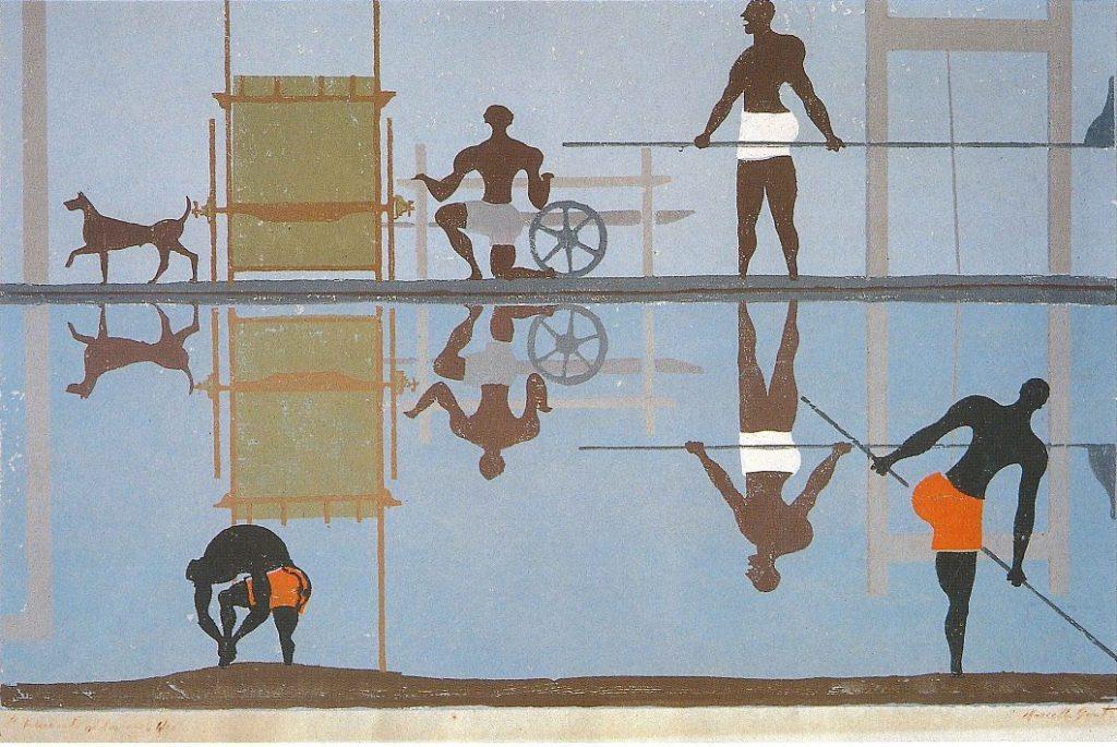 Renaioli al lavoro, 1953-1954, xilografia su legno di filo a 15 colori, Bagno a Ripoli, collezione Guasti