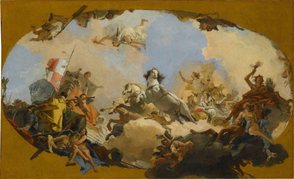 L' Apollo di Giovanni Battista Tiepolo conduce il genio Imperii alla Sposa Imperiale . Staatsgalerie Stuttgart.