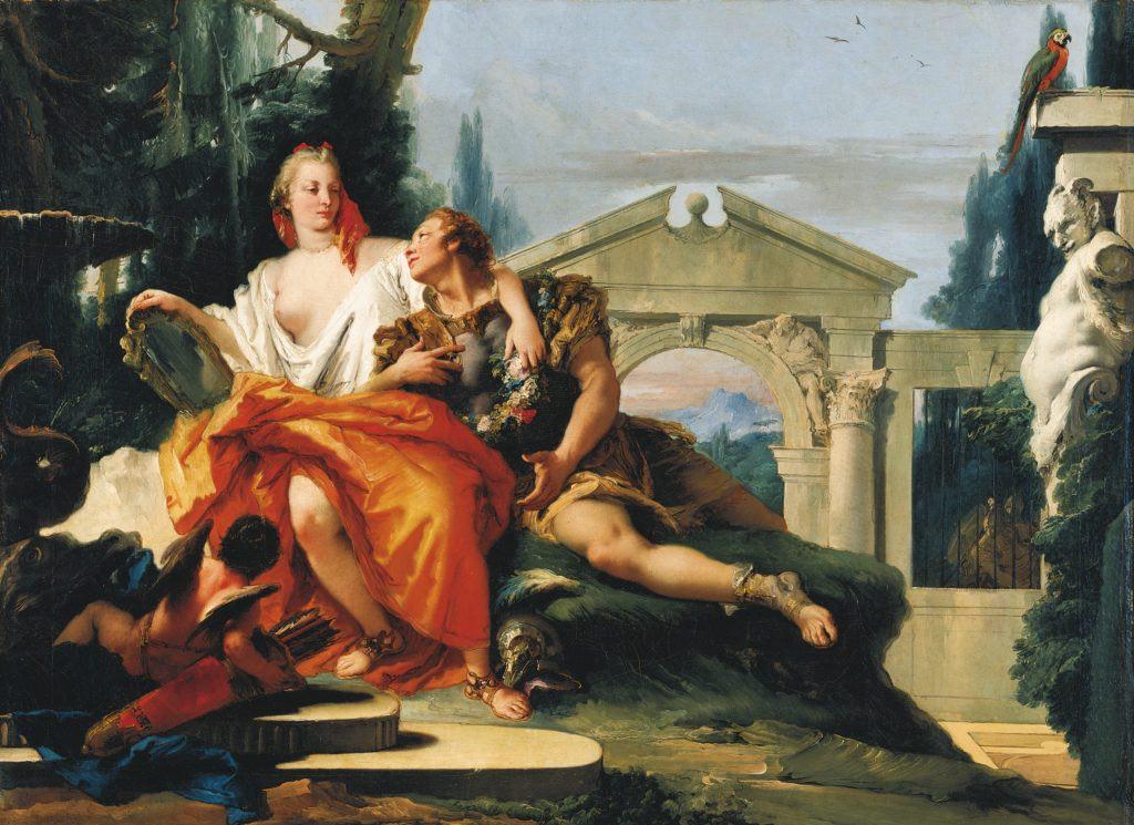 Gemälde, Rinaldo im Zauberbann Armidas, Giovanni Battista Tiepolo, um 1752/53, Inv. ResMü.G0840. Residenz Würzburg,                        Filialgalerie der Bayer. Staatsgemäldesammlungen
