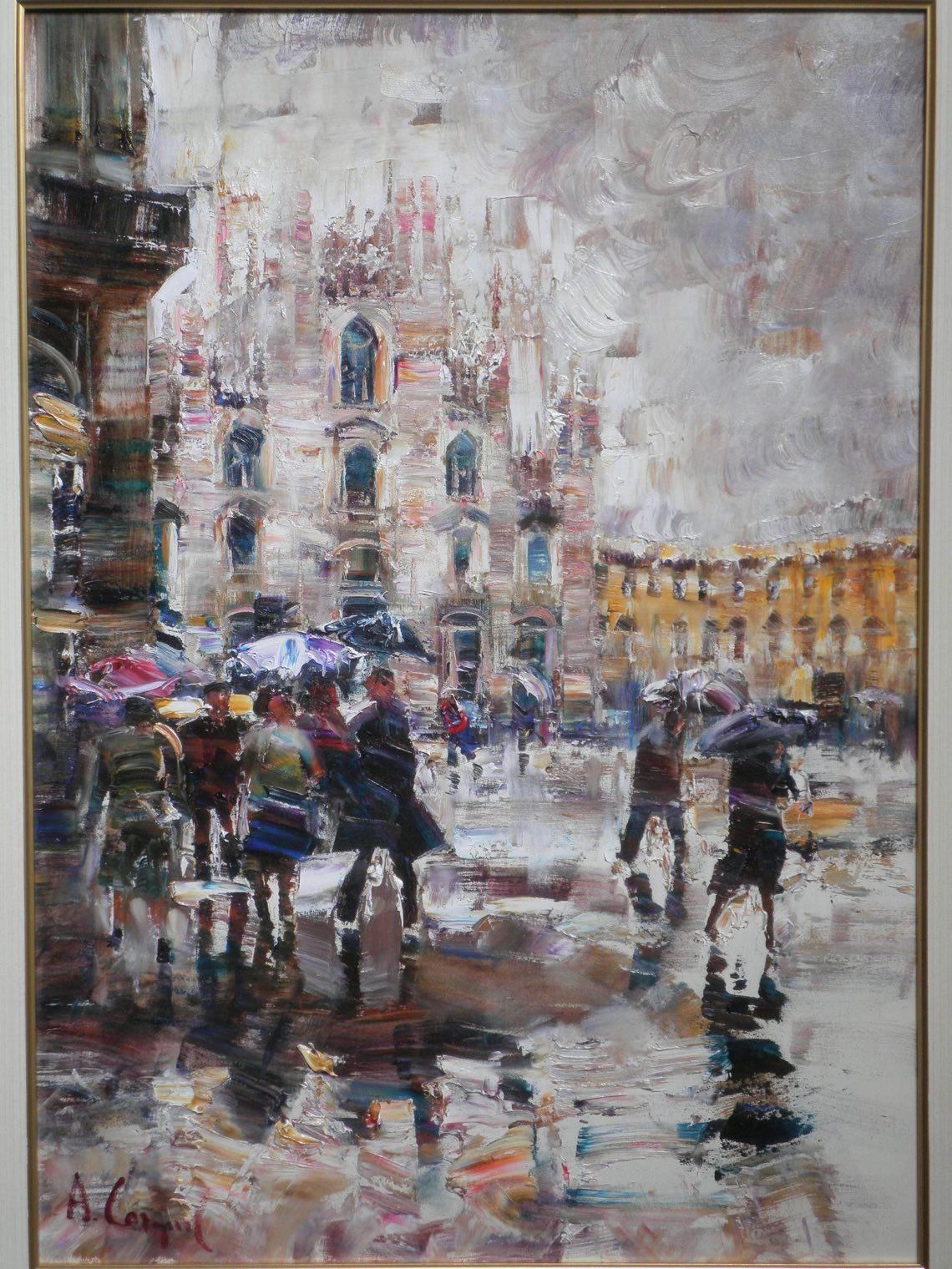 A.Cargnel Duomo sotto la pioggia- cm.70 x 100 olio su tela -OLYMPUS DIGITAL CAMERA