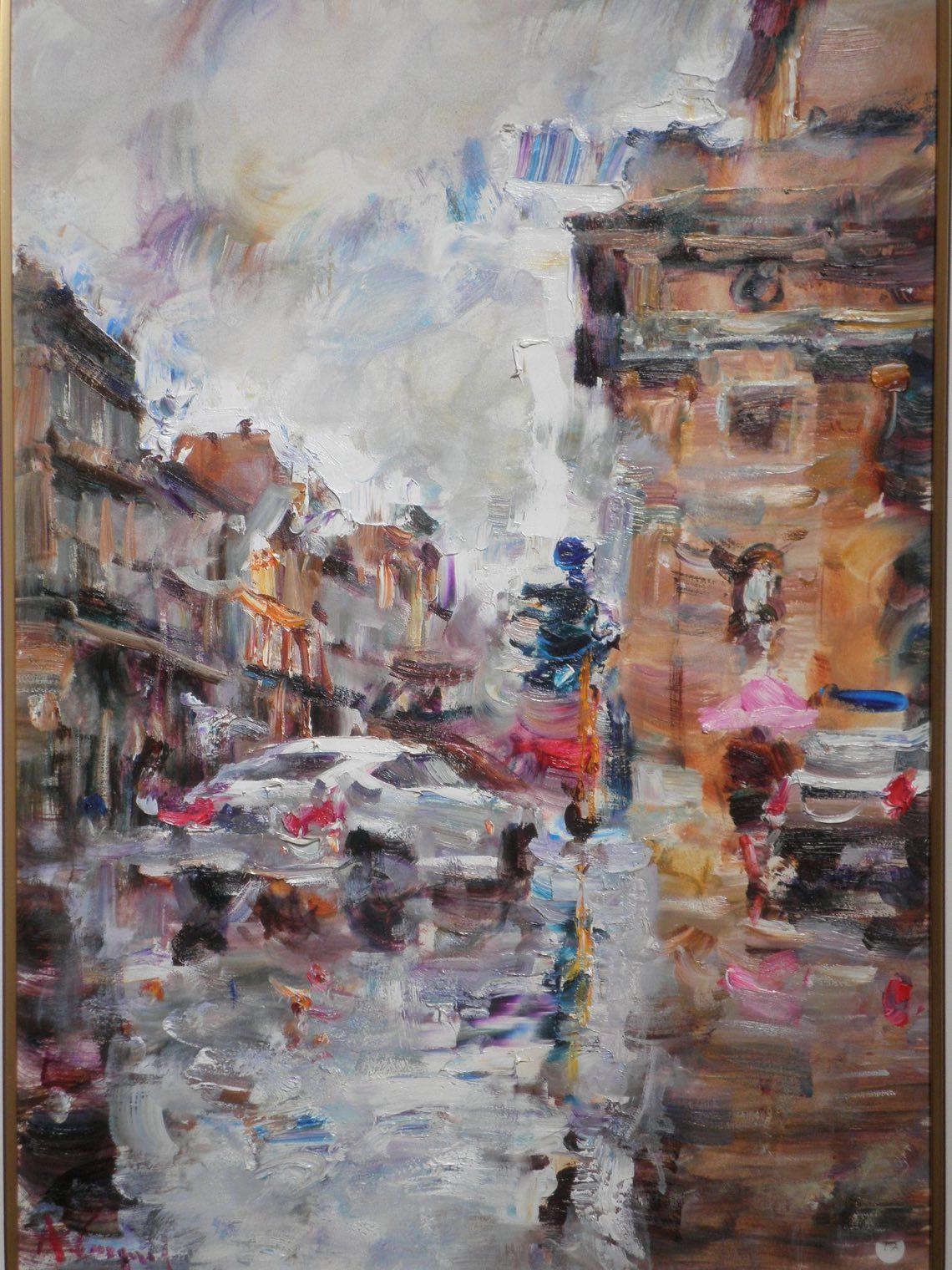 A.Cargnel - Impressione di pioggia a Porta Venezia- cm.50 x 70 -olio su tela - OLYMPUS DIGITAL CAMERA