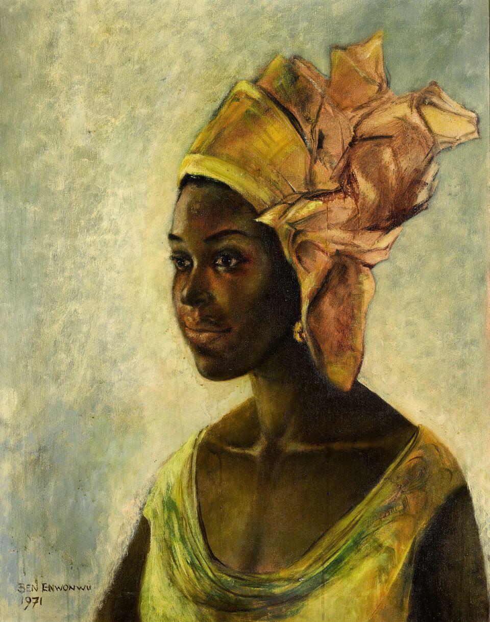 Ben Enwonwu, Christine , 1971. Olio su tela, 76,3 x 61cm. Tutte le immagini per gentile concessione degli artisti e di Sotheby's..jpeg