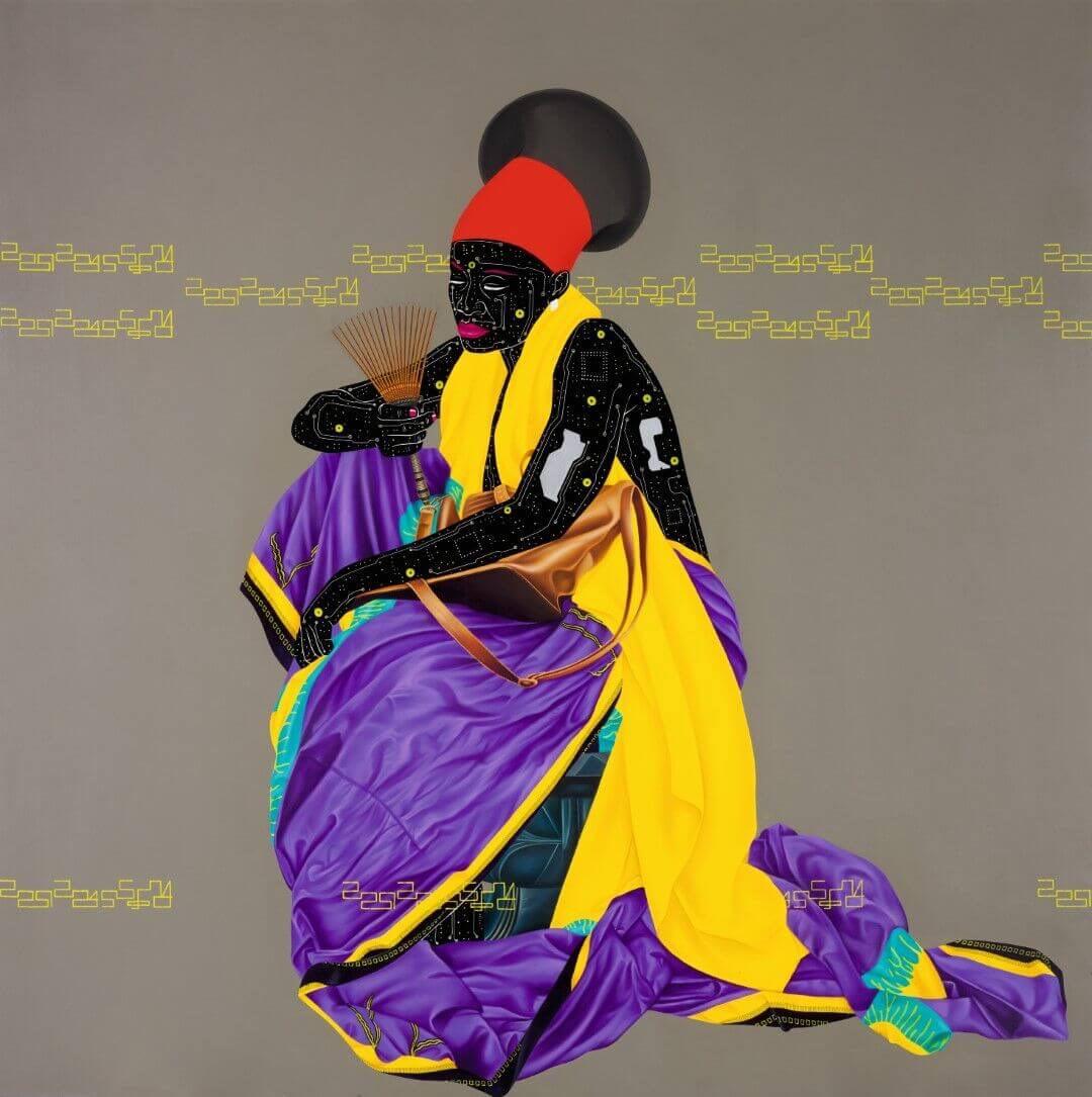 Eddy Kamuanga Ilunga, Dovere della memoria. Acrilico e olio su tela, 195,5 x 195,5cm.