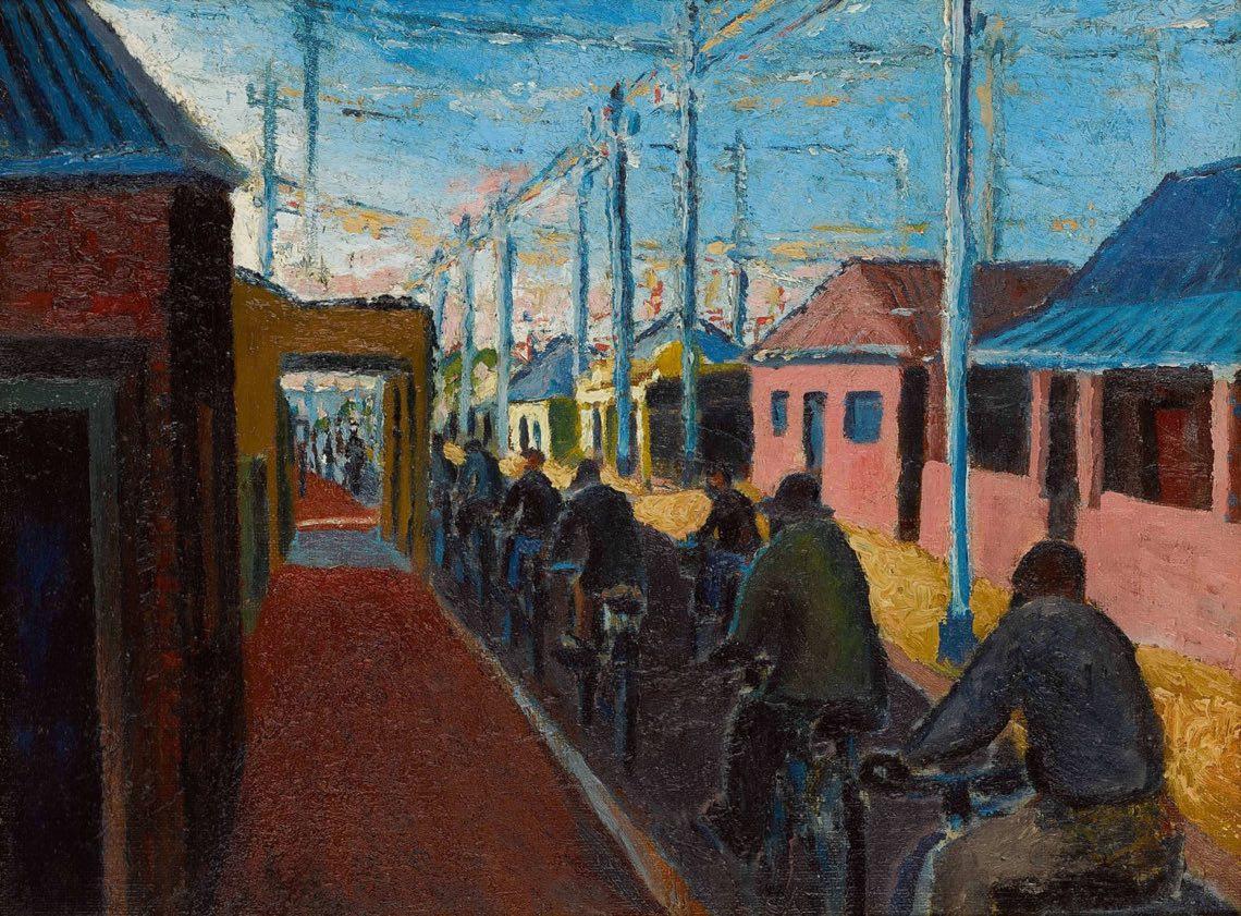Gerard Sekoto, Ciclisti a Sophiatown , 1940. Olio su tavola di tela, 30,4 x 40,3 cm.