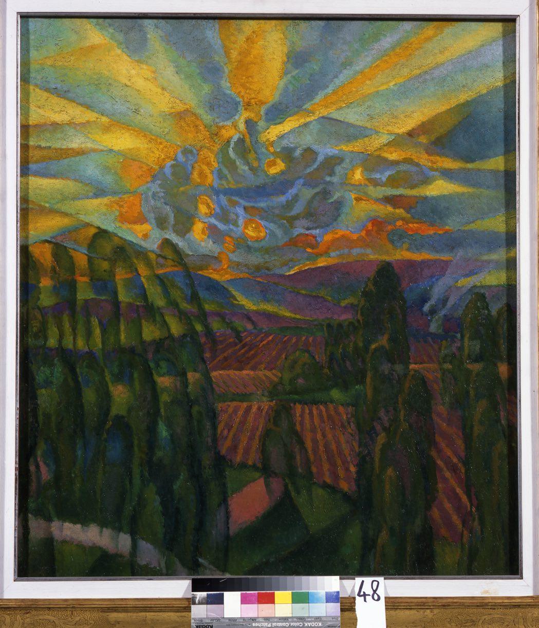 Dudreville Leonardo_Paesaggio o lirica al tramonto_1914 olio su tela_87 x 77 cm
