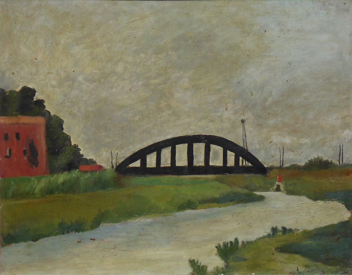 Peyron Guido_Paesaggio con ponte_1940_42_olio su tavola_45 x 56,8 cm