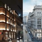 Da sinistra, l'immobile di via Camperio e di Corso Italia a Milano