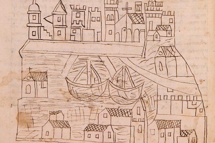 Il più antico disegno noto di Venezia. Per gentile concessione dell'Università di St. Andrews, con il permesso del Ministero per i beni e delle attività culturali e per il turismo e della Biblioteca Nazionale Centrale, Firenze.