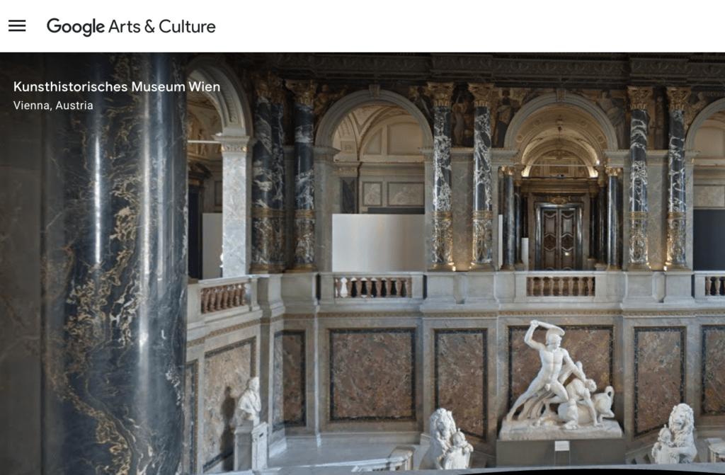 Street view del Kunsthistoriches Museum di Vienna su Google Arts and Culture.