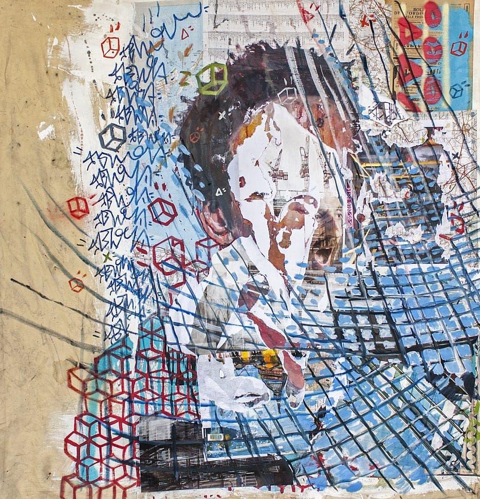 PEREGO Andrea Sbra_Deconstruction 8 self portrait_tecnic mista su tela_100x100cm_2019