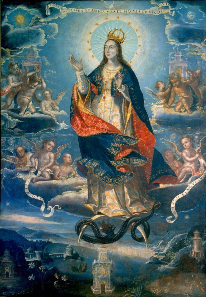 Baltasar de Echave Ibia, L'Immacolata Concezione . Dipingendo in Messico, l'artista ha avuto accesso a Maya Blue, permettendogli di usare un colore che era proibitivo in Europa. Per gentile concessione del Museo Nacional de Arte de Mexico.