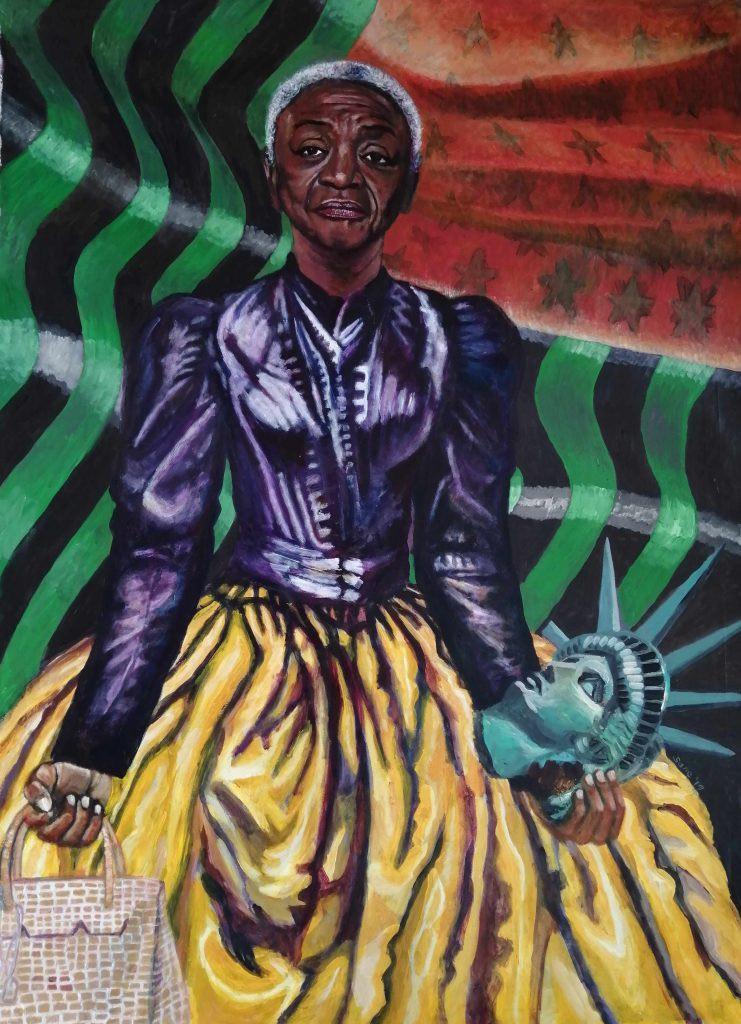 Eria Sane Nsubuga, Queen Faith (Ringgold) con in mano una borsa Hermes Birkin e una testa di Libertas (2019). Per gentile concessione Afriart Gallery.