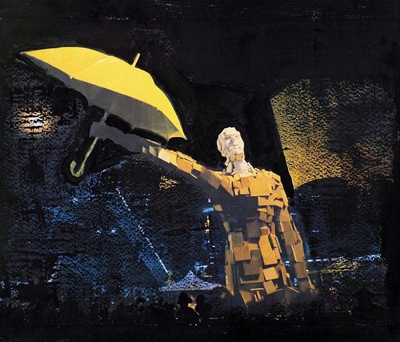 Mayumi Yamakawa_Yellow Umbrella Movement in Hongkong 1_Acryl and other mixed media on canvas_24 x 30 x 1,5cm
