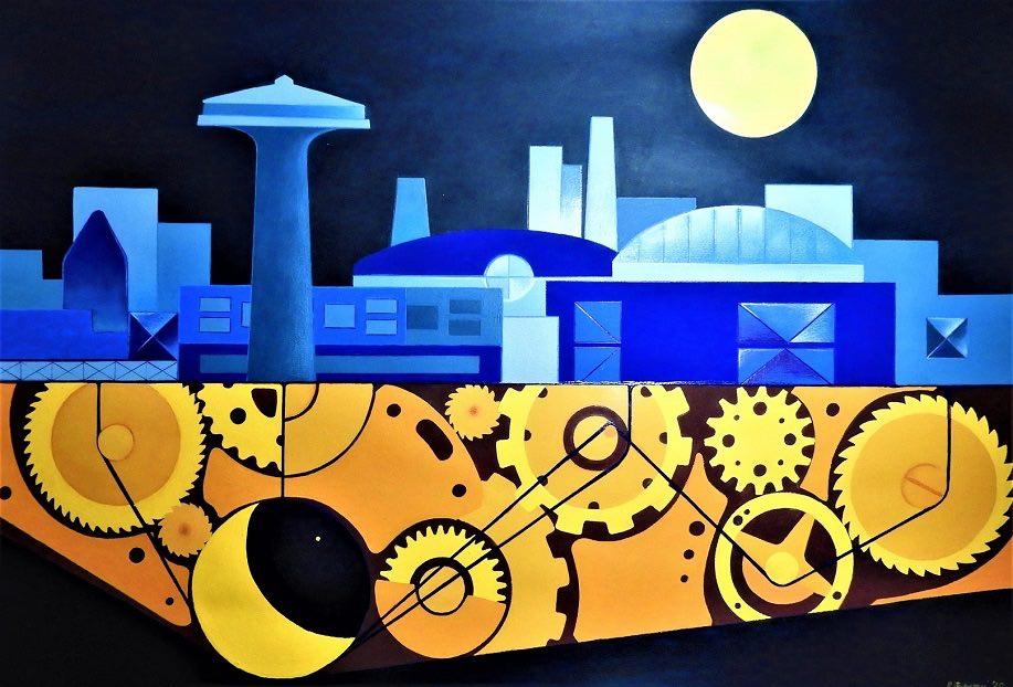 Rosaria Stevenazzi - Urban Machine (progetto per un murales metropolitano) tecnica acrilico su carta- cm.100x70 - 2020
