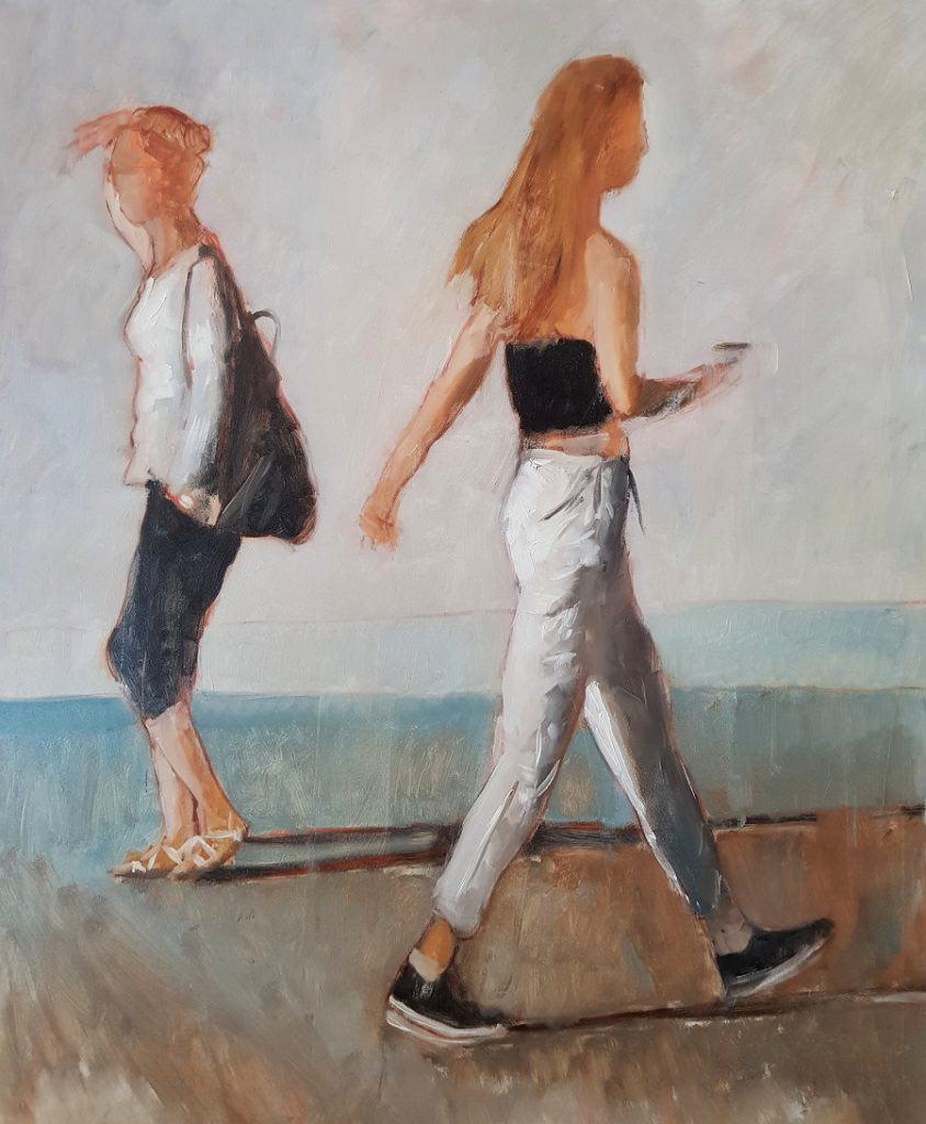 Stefano Venturini - Istanti (estranee) olio su tela 100x80 2020