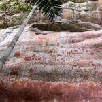 L'arte rupestre precolombiana al Cerro Azul nello stato di Guaviare, in Colombia, risale a circa 12.000 anni fa. Foto di Marie-Claire Thomas, per gentile concessione di Channel 4.