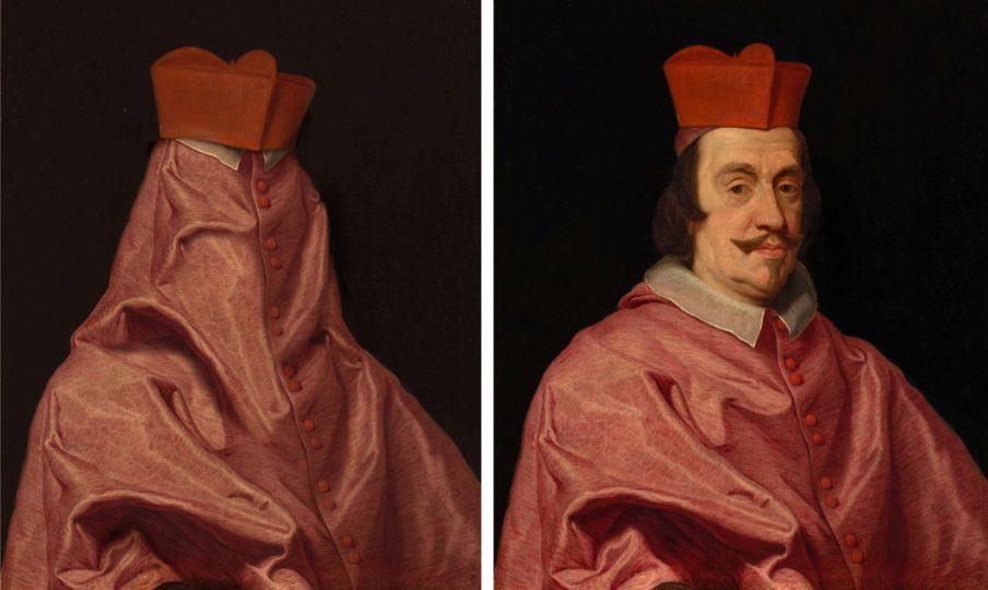 Hidden Il Belloccio II (2020). Edizione 5+1 AP © Volker Hermes; fonte dell'immagine  Giovanni Battista Gaulli, detto il Baciccio (1639-1709), Ritratto del Cardinal Lorenzo Raggi Pistone, Musei Civici, Inv. P
