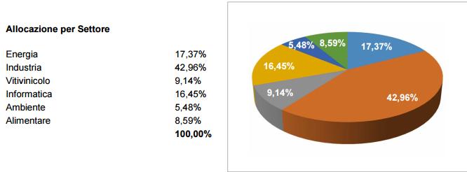 Il portafoglio del fondo Euregio per settore