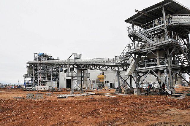 Il cantiere della centrale elettrica di Powercrop a Macchiareddu